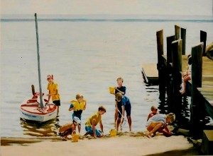 "# 455 ""BOYS WITH SAILBOAT, BOAT SLIP, SMUGGLER'S BEACH, CAPE COD"""