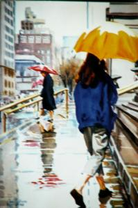"#0469 ""GIRL WITH A YELLOW UMBRELLA, ON THE STEPS OF THE METROPOLITAN MUSEUM OF"