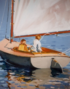 "#557 ""LETTING OUT THE SHEET, CHILDREN SAILING A BEETLE CAT, BASS RIVER, CAPE COD"""