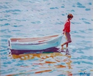 "# 587 "" BOY PULLING A DINGHY, BASS RIVER"""