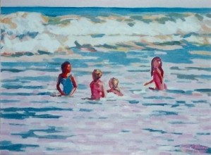 "# 589 ""CHILDREN IN THE SURF AT WHITE CREST, CAPE COD"""
