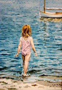"WA 4 ""LITTLE GIRL IN PINK SWIMSUIT AND BEETLE CAT, BASS RIVER, CAPE COD"""