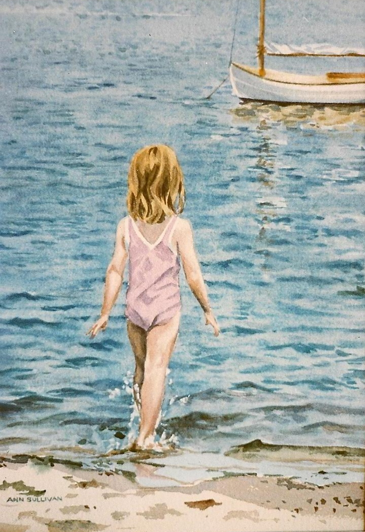 WA 4, LITTLE GIRL IN PINK SWIMSUIT ENTERING THE WATER
