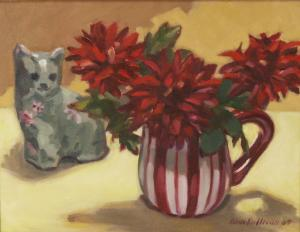 #997, RED ZINNIAS AND GREEN CAT