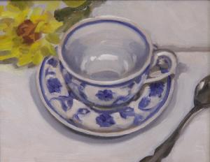 #1001, BLUE AND WHITE TEA CUP AND YELLOW FLOWER