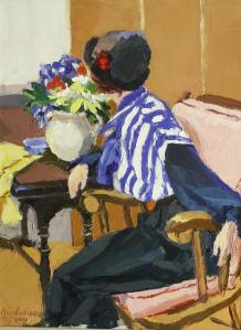 #887, WOMAN IN BLUE STRIPED BLOUSE
