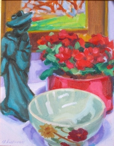 #913, STILL LIFE WITH TEAL FIGURINE