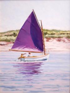 "#1046 ""SUMMER SAILING, BASS RIVER, CAPE COD"" (BEETLE CAT WITH PURPLE SAIL) (OUR BEAUTIFUL RIVER SERIES 1P)"