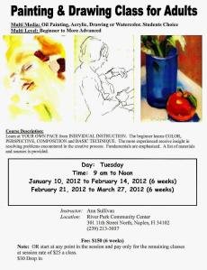 2012 (JAN-APR) ART CLASSES, RIVER PARK CENTER, NAPLES, FL