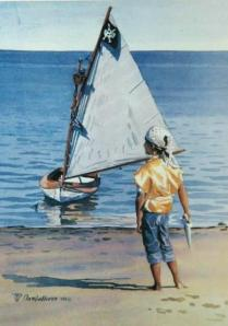 "#47 ""SENTRY, A BOY AND A BEETLE CAT, BASS RIVER, CAPE COD"""