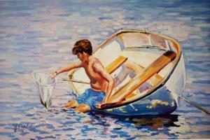 "#464 ""EMPTY NET: BOY WITH A NET IN A DINGHY"""