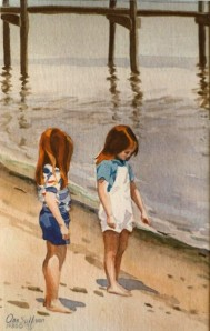 "WA 29 ""TWO LITTLE RED HEADED GIRLS ON THE BEACH, CAPE COD"""