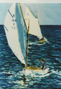 "WA 35 ""A BEETLE CAT AND A WIANNO SR UNDER SAIL, CAPE COD"""