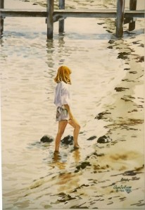 "WA 36 ""MUSE, RED HEADED GIRL ON THE BEACH, CAPE COD"""