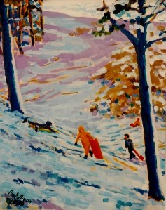 "#543 ""SLEDDING AT SWAN POND, YARMOUTH, CAPE COD"""