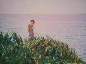 "#574 ""LAVENDER SEA; RED HEAD GIRL ON HIGH GRASSY DUNE OVERLOOKING THE SEA"""