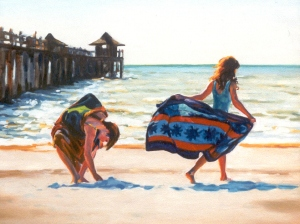 "#696 ""NATURAL GRACE:TWO GIRLS, BEACH, NAPLES PIER"""