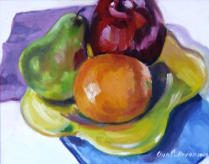 "#740 ""STILL LIFE WITH FRUIT ON A YELLOW PLATE"""