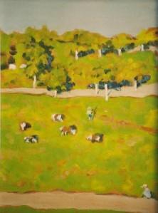 "#818 ""COWS IN A PASTURE, AFTER EDUARD VUILLARD"""