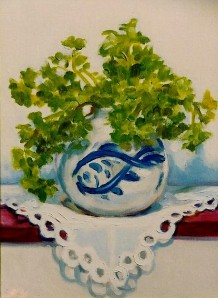 "#834 ""PARSLEY IN BLUE AND WHITE PORCELAIN WITH FISH"""