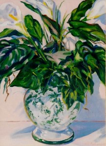 "#854 ""CALLA LILLIES IN GREEN AND WHITE CHINESE VASE"""