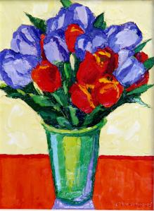 "#883 ""RED AND VIOLET TULIPS"""