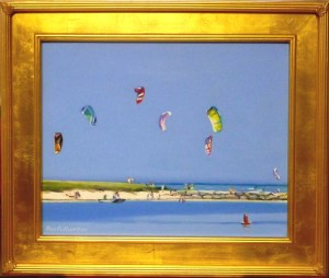 "#1093 ""SAIL KITES OVER WEST DENNIS BEACH, VIEW FROM BASS RIVER""(OBR SERIES #XV)"