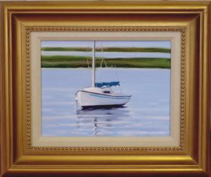 "#1094 ""WHITE SAILBOAT, MARSH, BASS RIVER, CAPE COD""(OUR BEAUTIFUL RIVER SERIES #XVI)"