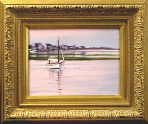 "#1095 ""SUNSET I, CAT BOAT, MARSH, BASS RIVER, CAPE COD""(OUR BEAUTIFUL RIVER SERIES #XVII)"