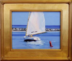 "#1098 ""CAT BOAT UNDER SAIL, BASS RIVER, CAPE COD"" (OUR BEAUTIFUL RIVER SERIES #XX)"