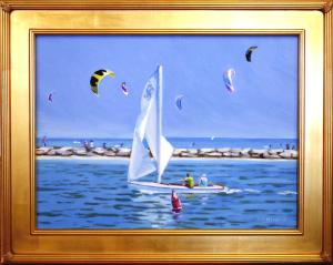 "#1100 ""BASS RIVER SAILING SCENE WITH SAIL KITES OVER WEST DENNIS BEACH"" (OUR BEAUTIFUL RIVER SERIES #XX)"
