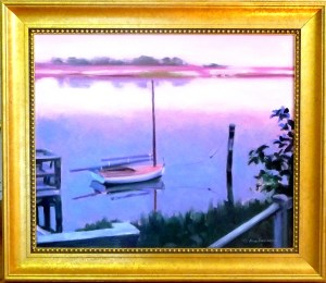 "#1101 ""MISTY SUNRISE, BASS RIVER, CAPE COD"" (CHURCHILL'S LANDING AND BEETLE CAT) (OBR SERIES #XXII)"