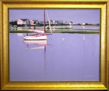 "#1102 ""CATBOAT AND EVENING LIGHTS, BASS RIVER, CAPE COD""( NOCTURNE VIII) (OUR BEAUTIFUL RIVER SERIES # XXIII)"