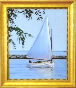 "#1103 ""RIVER LOCUST AND CATBOAT UNDER SAIL, BASS RIVER, CAPE COD"" (OUR BEAUTIFUL RIVER SERIES XXIV)"