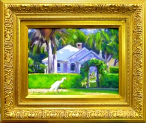 "#1117 ""EGRET BREAKFASTING, MORNING LIGHT AND SHADOWS, PINK COTTAGE, OLD NAPLES, FL"""