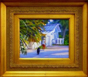"#1119 ""MORNING RUN, LIGHT AND SHADOWS: BLUE COTTAGE, OLD NAPLES, FL"""