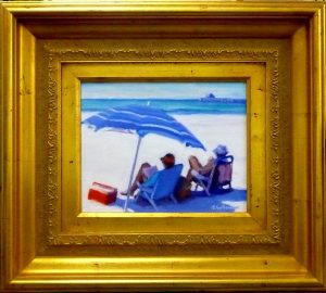 #1121 SOUTHERN LIGHT, BLUE UMBRELLA, NAPLES BEACH AND PIER""