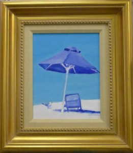 "#1125 ""JUST WAITING FOR YOU, NAPLES BEACH WITH SEAGULL, WARM AND COOL BLUES"""
