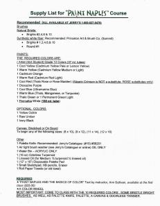 #1128S SUPPLY LIST FOR RIVER PARK CENTER AND VON LIEBIG ART CENTER PAINTING CLASSES