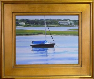 "# 1156 ""BASS RIVER MARSH AND SAILBOAT MOORED"" (OUR BEAUTIFUL RIVER SERIES XXX)"