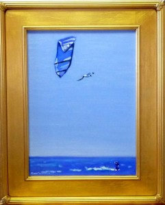 "# 1169 ""SHARING BLUE SKIES, SAIL KITE AND SEAGULL, NANTUCKET SOUND, CAPE COD"""