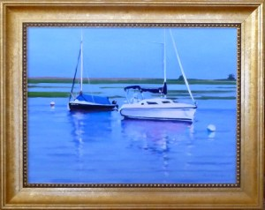 "# ""SAILBOATS ON A TURNING TIDE, EARLY EVRNING, BASS RIVER, CAPE COD"" (Our Beautiful River Series XL), (NOCTURNE"