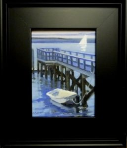 "#1193 ""DINGHY TIED TO THE DOCK, RIVER ST, BASS RIVER, CAPE COD""(Our Beautiful River Series XLVI)"