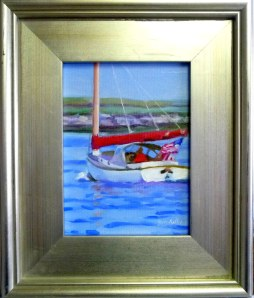 "#1198 ""CATBOAT, BASS RIVER, CAPE COD"" (Our Beautiful River Series L)"