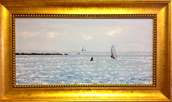 "#1215 ""BRILLIANT SEA, WINDSURFER AT THE MOUTH OF BASS RIVER"" (OBR SERIES LVI)"
