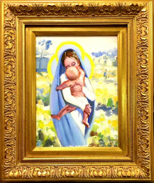 "#1236 ""MARY AND JESUS IN A GARDEN LANDSCAPE"""