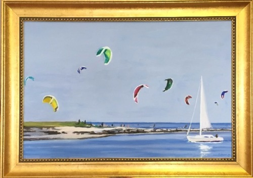 "#1242 ""SAIL KITES, BASS RIVER, CAPE COD""(Our Beautiful River Series #LXIII)"