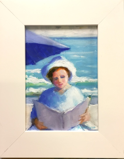 "#1249 ""WOMAN READING AT THE BEACH"""