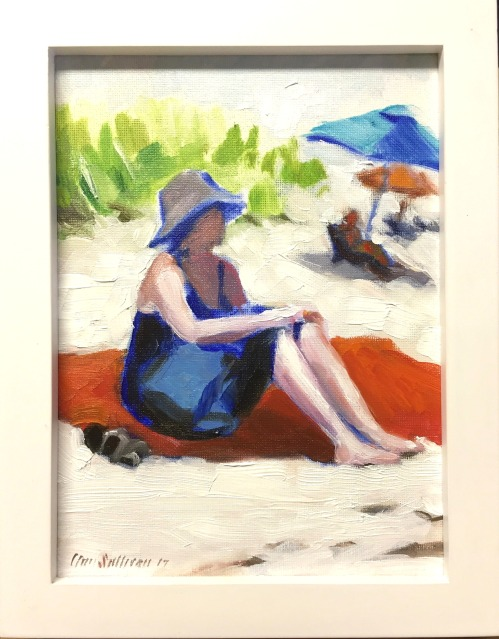 "#1264 ""WOMAN ON A RED BEACH BLANKET"""