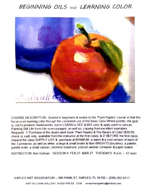 PAINTING CLASSES, NAPLES FL, INSTRUCTOR ANN SULLIVAN 2017-2018
